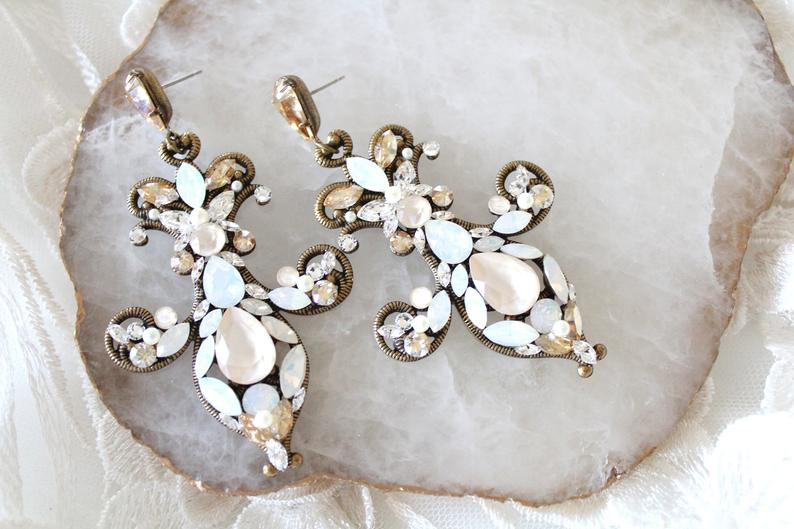 Antique gold Swarovski crystal Statement Chandelier earrings - Treasures by Agnes