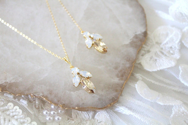 Delicate Swarovski crystal bridal backdrop necklace - JOYCE - Treasures by Agnes