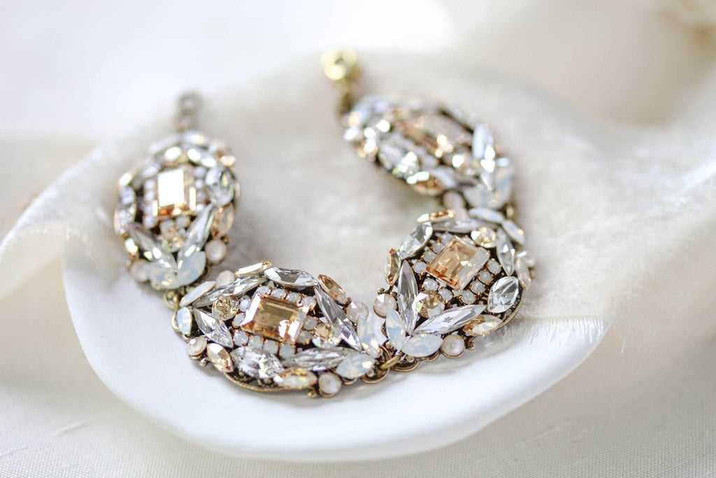 Swarovski crystal antique gold wedding bracelet - ELOISE