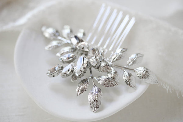 Simple Swarovski crystal bridal hair comb - OPHELIA