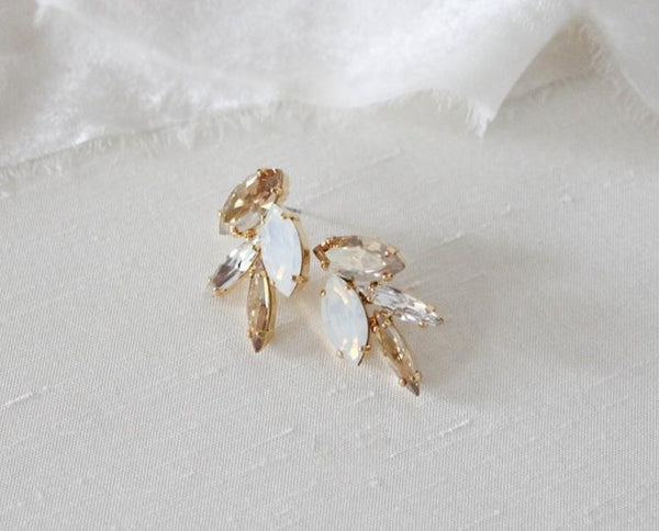 Delicate cluster style Swarovski stud earrings - CHRISTINA - Treasures by Agnes