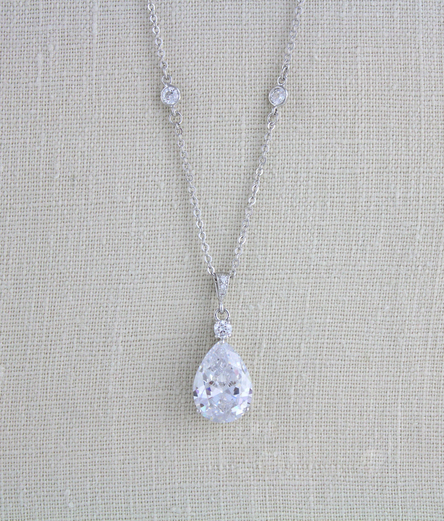 Cubic zirconia teardrop Bridal necklace - PEYTON - Treasures by Agnes