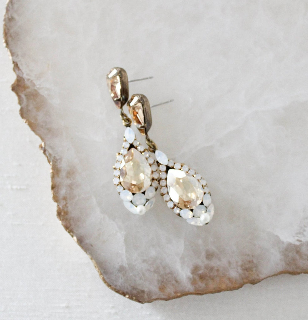 Antique gold Swarovski crystal teardrop Bridal earrings - JULIA - Treasures by Agnes