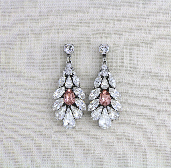 Antique silver Swarovski crystal bridal earrings with blush pink accent - Treasures by Agnes