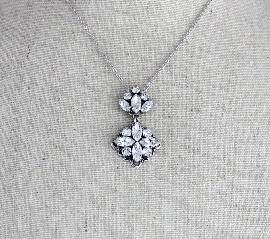 Dainty antique silver Bridal necklace with Swarovski crystals - FAITH - Treasures by Agnes