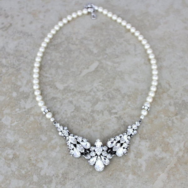 Vintage style Swarovski crystal and pearl Wedding necklace - ATHENA - Treasures by Agnes