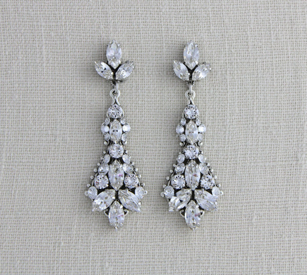 Vintage style Swarovski crystal Bridal earrings - Treasures by Agnes