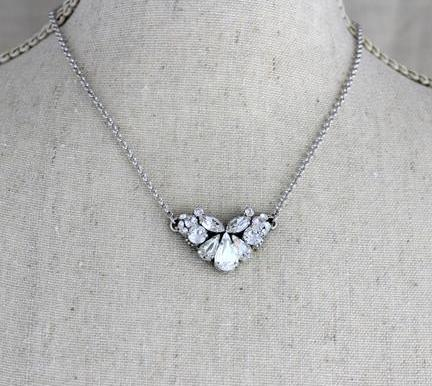 Simple Vintage style Swarovski Crystal Wedding necklace - LANEY - Treasures by Agnes