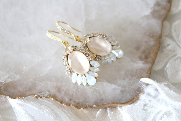 Gold Bridal earrings with Swarovski ivory cream and white opal crystals - Treasures by Agnes