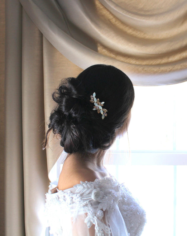 Swarovski white opal and golden shadow crystal Bridal hair comb - Treasures by Agnes