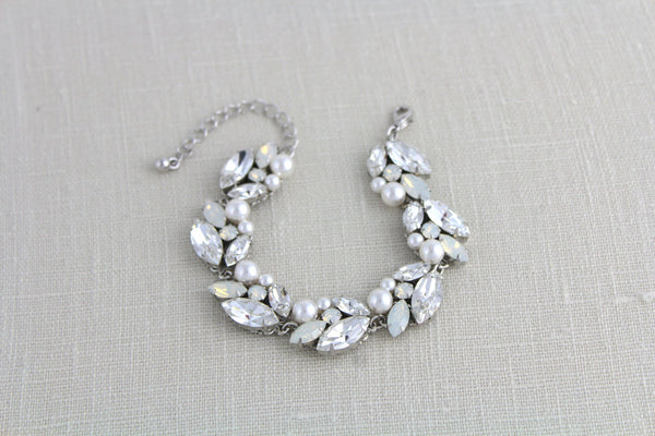 Swarovski white opal Bridal bracelet - Treasures by Agnes