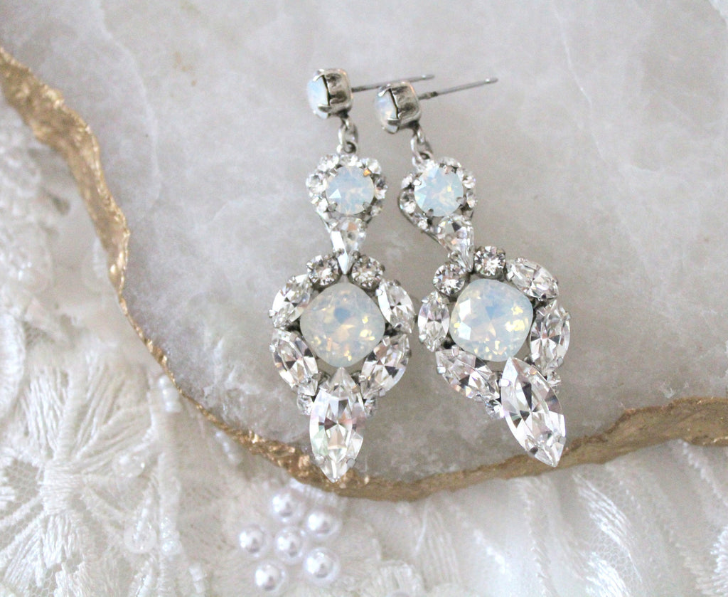 Swarovski crystal white opal chandelier bridal earrings - Treasures by Agnes