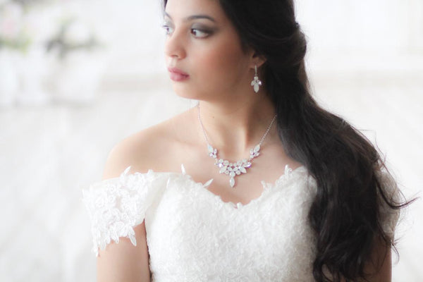 Swarovski cluster style statement bridal necklace - SANDRA - Treasures by Agnes
