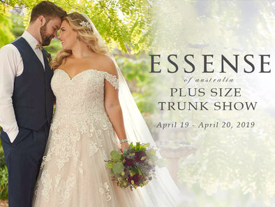 Calling all Curvy Brides! Join us for our Essense of Australia Plus Size Trunk Show this weekend!