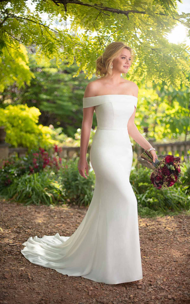 Essense of Australia D2717 - Off shoulder simple wedding dress with belt and fitted sheath skirt