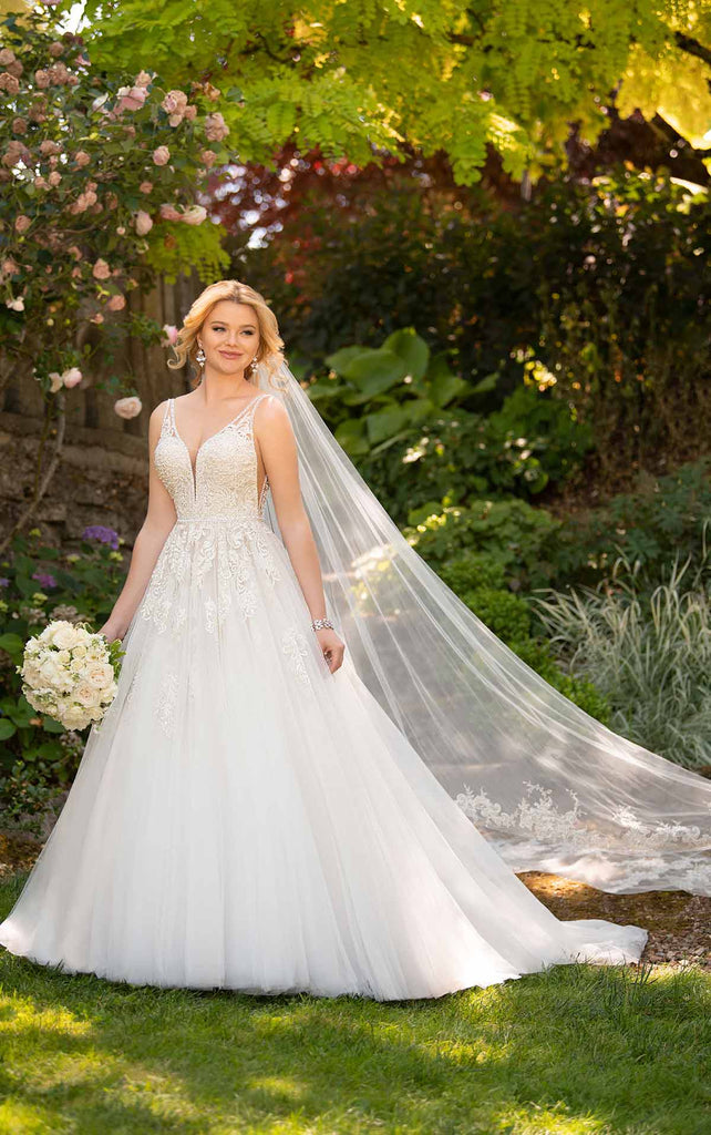 Essense of Australia D2730 - Vneck beaded lace natural waist wedding dress with full tulle ballgown skirt and matching lace veil