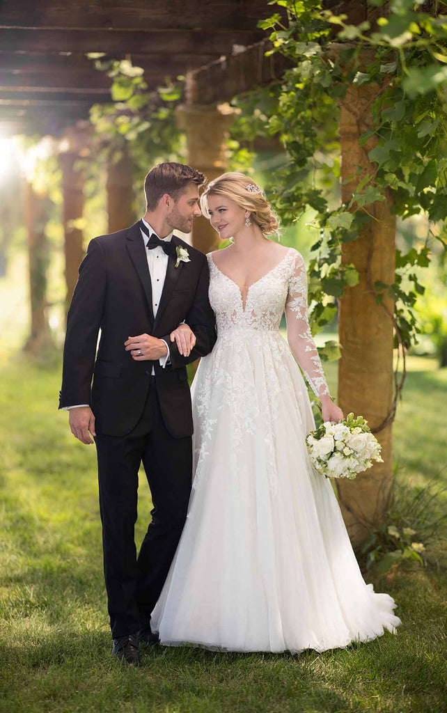 Essense of Australia D2737 - Long sleeve illusion lace ballgown with sheer corset bodice wedding dress