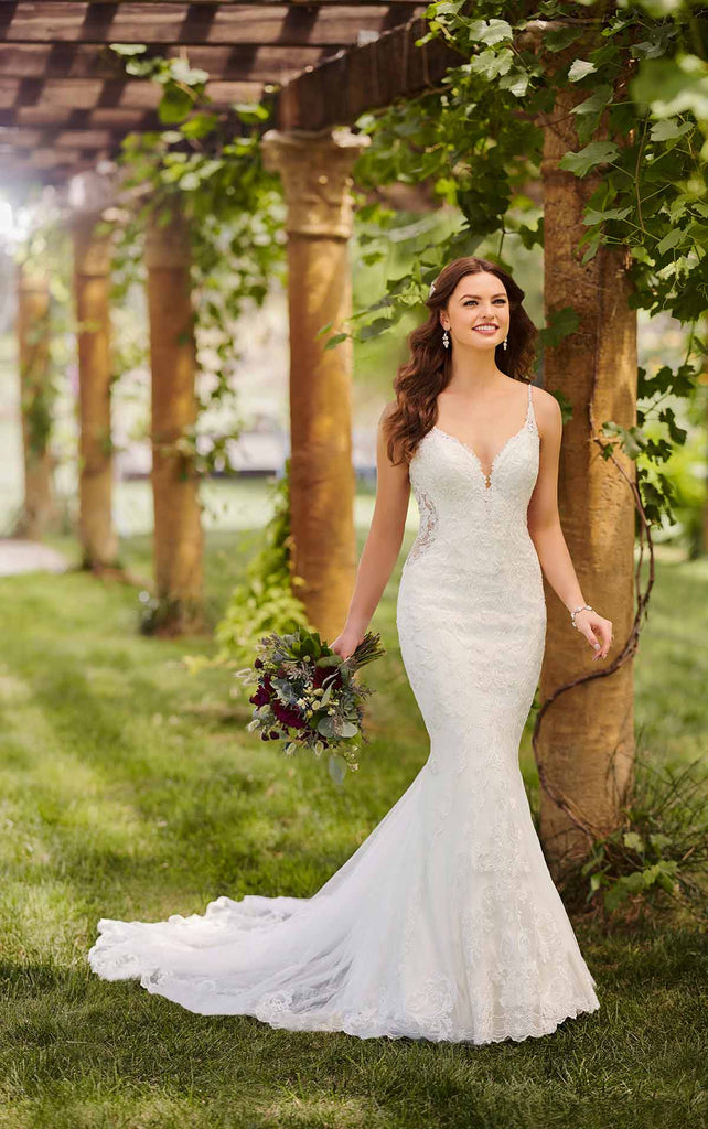 Essense of Australia D2760 - Sweetheart spaghetti strap fitted mermaid lace wedding dress with sheer insets on waistline