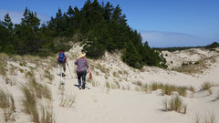 Walking the sand dunes to the Oregon Coast beaches