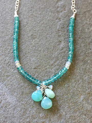 Collar Necklace - Diamonds on the Water (Peruvian blue opal & apatite)
