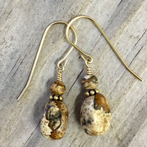 Matte - Desert Peace II Earrings (picture jasper)