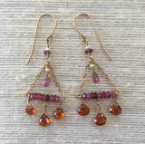 Flying Trapeze: Fall is in the Air (pink sapphire & orange garnet)