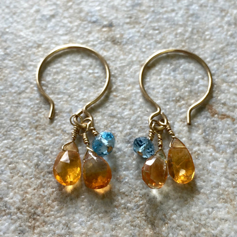 Eternal Flame Earrings (citrine & topaz)