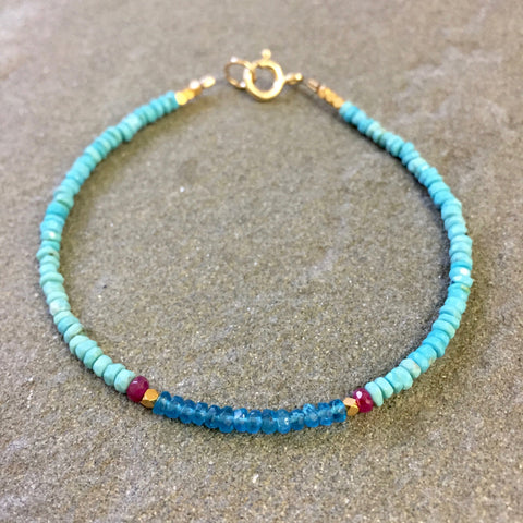 Mix & Match Stacking Bracelet 3: Neon Blue Apatite & Turquoise