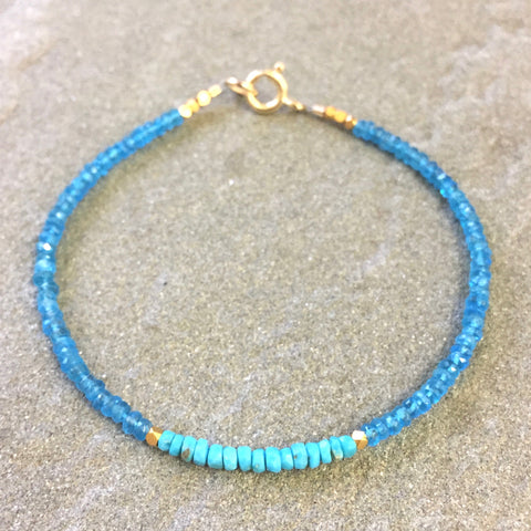 Mix & Match Stacking Bracelet: Neon Blue Apatite & Turquoise
