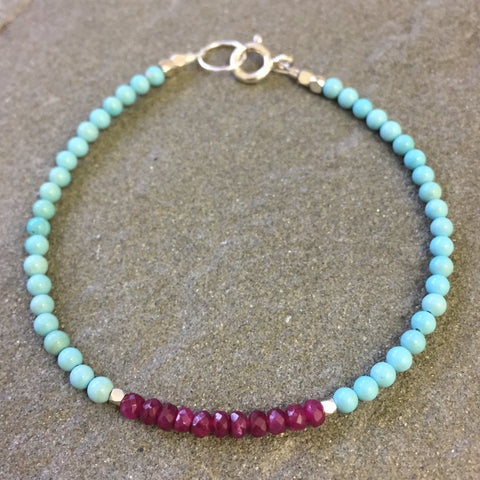 Mix & Match Stacking Bracelet 3: Turquoise & Ruby 2