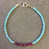 Mix & Match Stacking Bracelet: Turquoise & Ruby 2