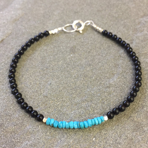 Mix & Match Stacking Bracelet 3: Onyx & Turquoise