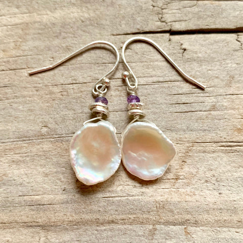 Floating on Air Earrings - Keshi Pearl & Sterling Silver