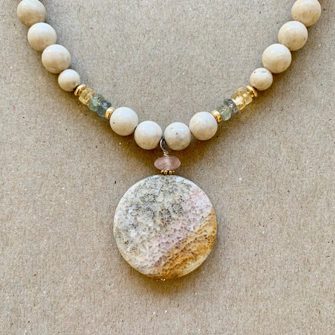 One of a Kind - Ripple (rose quartz, fossil stone)