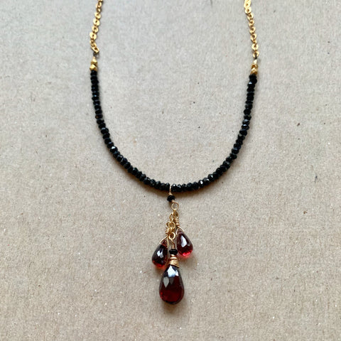 Collar Necklace - Swing Time (garnets & black spinel)