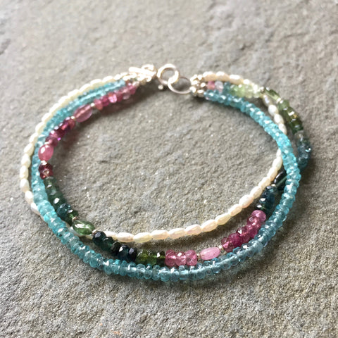 Sadie Bracelet - Northern Lights (pearl & tourmaline)