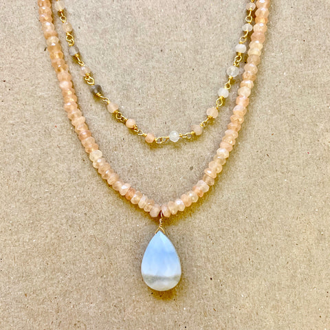 One of a Kind - Light Hearted (Peruvian blue opal & moonstone)