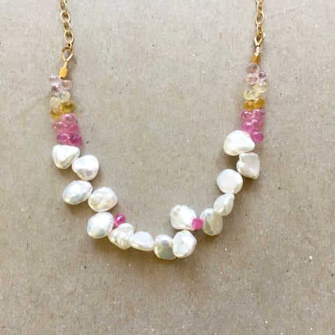 Collar Necklace - Sunshine Daydream (sapphires & pearls)