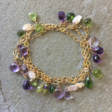 Collar Necklace - Just in Time for Mardi Gras (amethyst, garnet & pearl)