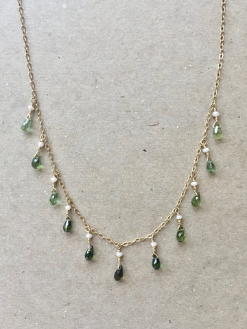 Collar Necklace - Princess (green tourmaline)