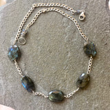 Collar Statement Necklace - Ocean Moonlight (labradorite)