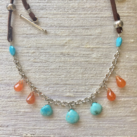 Leather & Suede - Sedona Sunset (turquoise & carnelian)