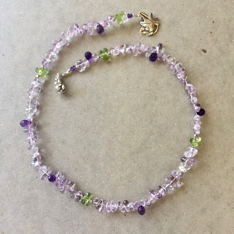 Collar Necklace Statement - Bacchus (amethyst & peridot)
