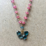 Collar Necklace - Drops, Last Light (rubies & London blue topaz)