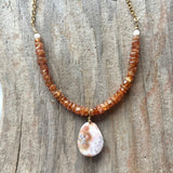 Collar Necklace - Madagascar (hessonite garnet & ocean jasper)