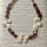 Collar Necklace Statement - Floating on Air (pearls & chocolate moonstone)