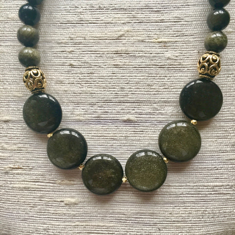 Collar Necklace Statement - Moonlight Drive (Golden Obsidian)