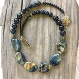 Collar Necklace Statement - Moonlight Mile (Golden Eye Stone)