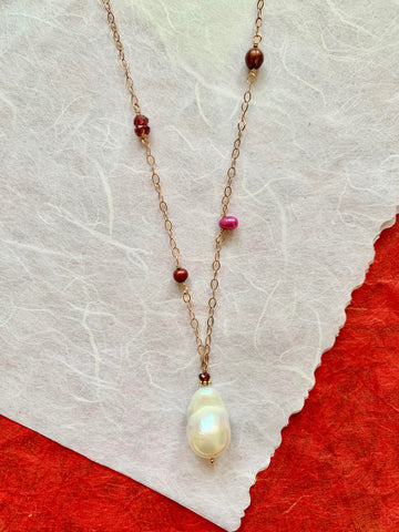 Bella - Garnets and Pink Pearls