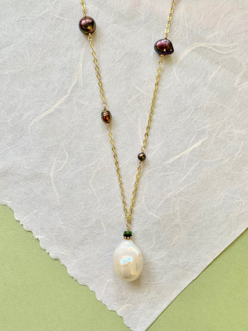 Bella - Peacock Colored Pearls